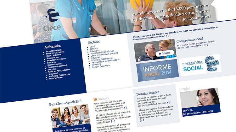 Captura de pantalla de la web de la compañía Clece