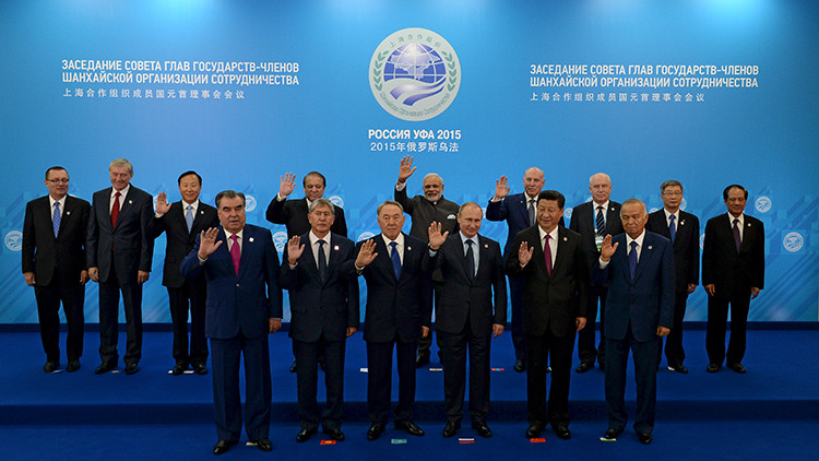 A group photograph of the SCO heads of state, the heads of observer states and governments, and international organisation delegation heads during the Shanghai Cooperation Organization (SCO) summit in Ufa, Russia,