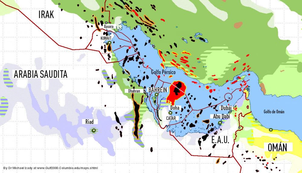 Un mapa de yacimientos de petróleo y distribución de población por la religión predominante