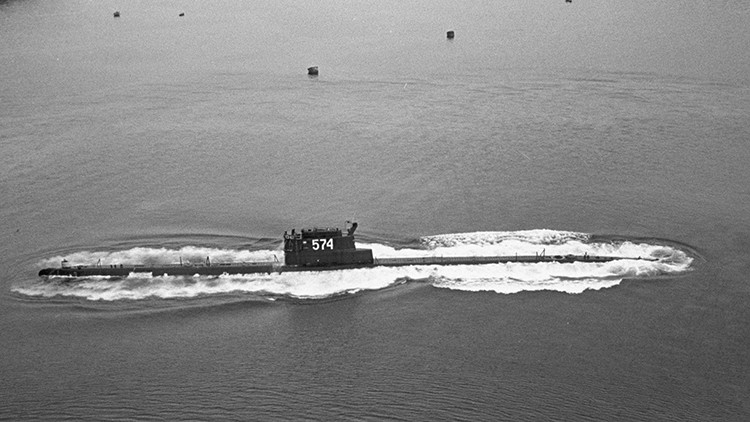 The K-129, pennant number 574, a Project 629A submarine of the Soviet Pacific Fleet, on patrol.