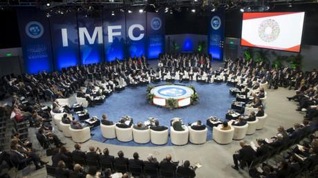 Una reunión de la Comisión Internacional Monetaria y Financiera del FMI