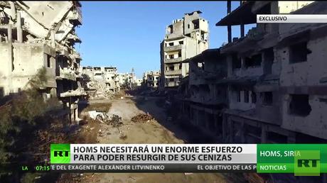 La ciudad siria de Homs en ruinas a vista de un dron