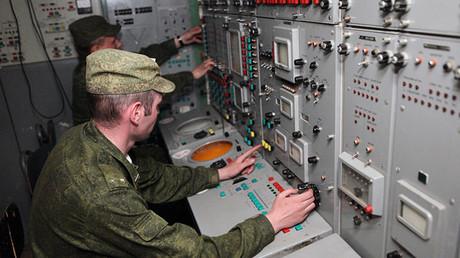 El punto de mando del sistema de misiles S-300 ruso
