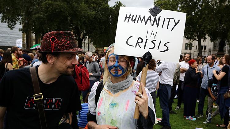 Protesta en contra de las políticas antiinmigratorias en Reino Unido.12 de septiembre de 2015.