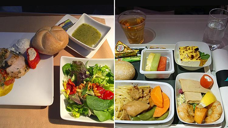 Sorprendente: ¿Cómo difiere la comida en la clase económica y ejecutiva de una misma aerolínea?