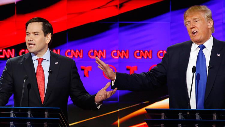 Chispeante duelo republicano: Rubio y Trump recurren a los insultos personales