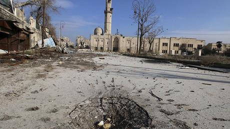 Una mezquita destruida en Alepo