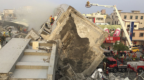 La ciudad de Tainan en ruinas