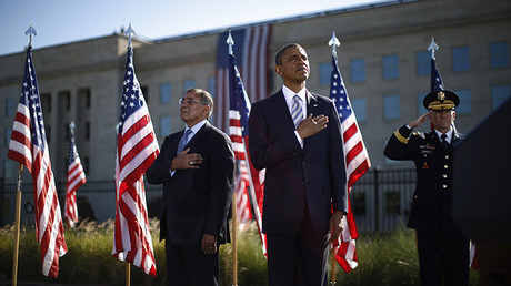 Barack Obama junto con Leon Panetta, el  Secretario de Defensa, (en le  centro) y Martin Dempsey,  el presidente de la Estado Mayor Conjunto