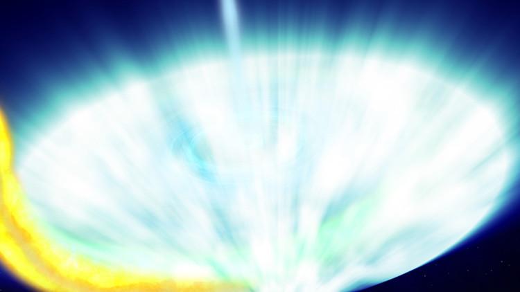 Un monstruoso agujero negro devora a su estrella vecina