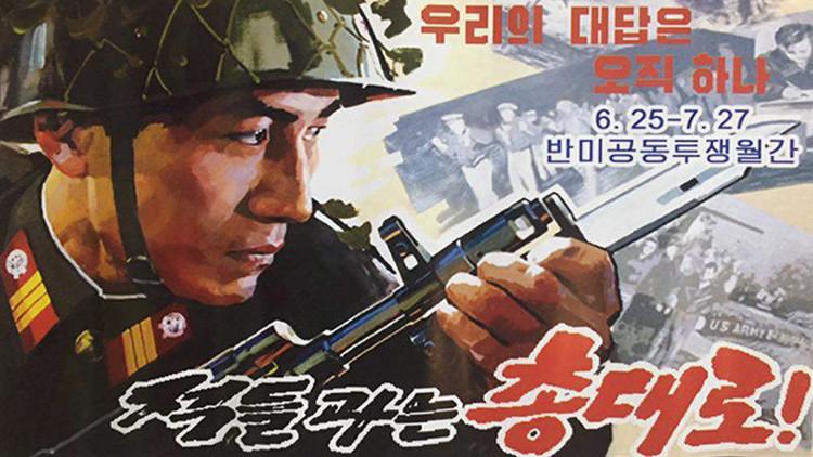 El cartel de publicidad política de Corea del Norte que compró Belkin