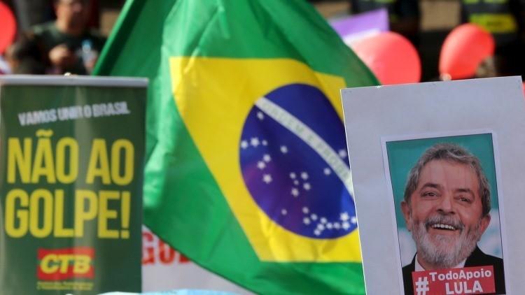 """Marcha en apoyo a Rousseff y Lula: """"Oposición está incitando a una guerra civil en Brasil"""""""
