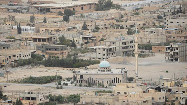 Izan la bandera de Siria en el centro y recinto histórico de Palmira