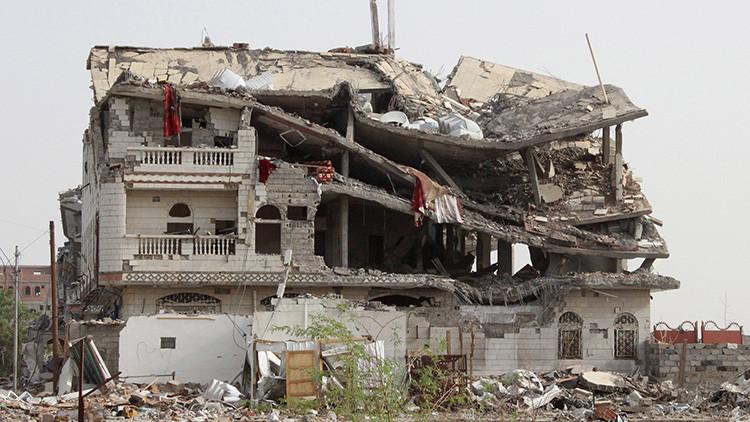 Edificio destruido por un ataque saudí en la ciudad yemení de Haradh. 20 de mayo de 2015.
