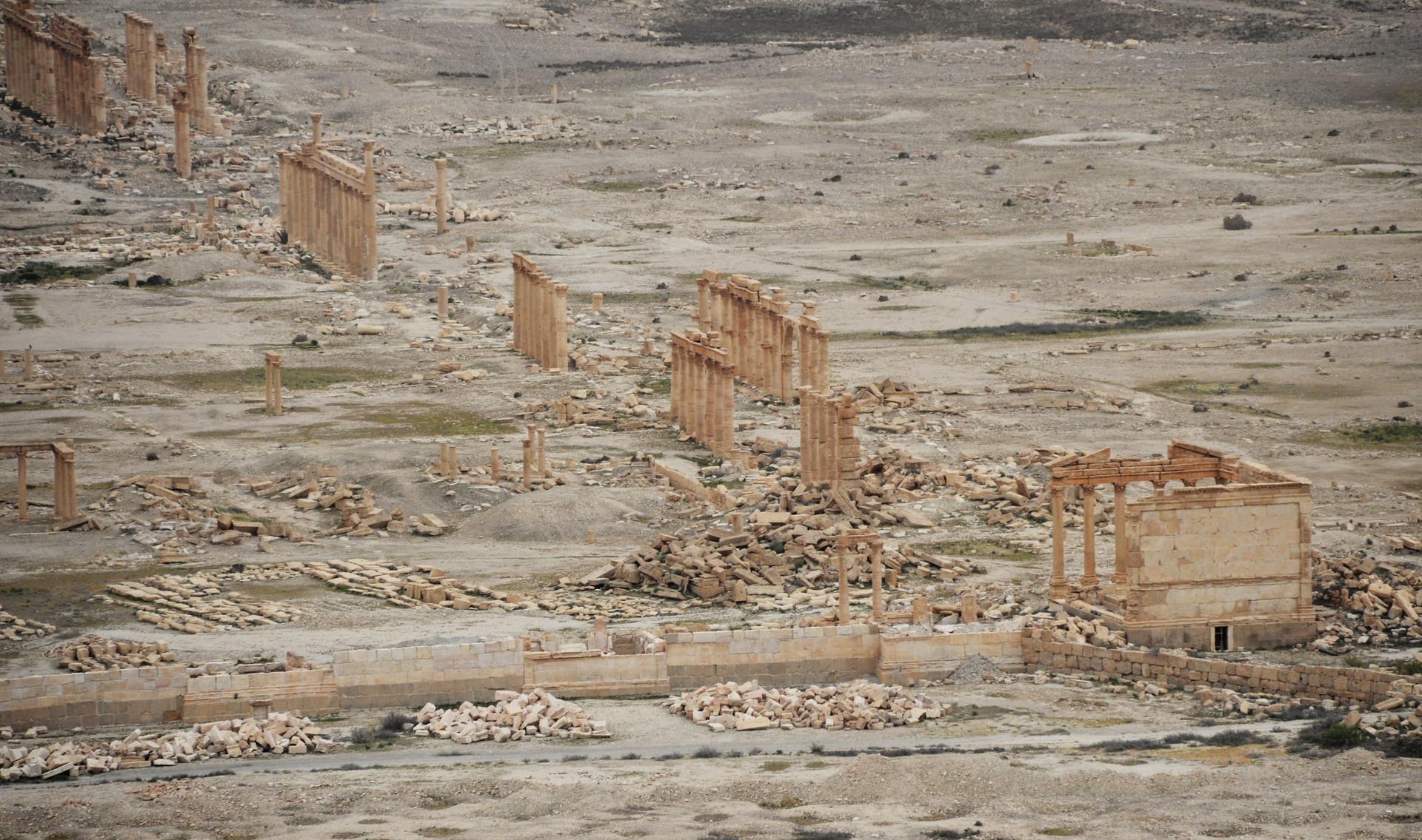 La parte antigua de la histórica ciudad de Palmira, donde el Ejército sirio y la milicia Halcones del Desierto luchan contra el Estado Islámico, 26 de marzo.