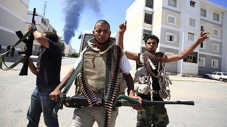 Rebeldes libios en Tripoli, el 25 de agosto de 2011.