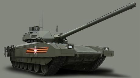 El tanque T-14 Armata equipado con el sistema de protección activa Afganit