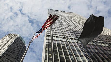 Bandera de EE.UU. y de JP Morgan