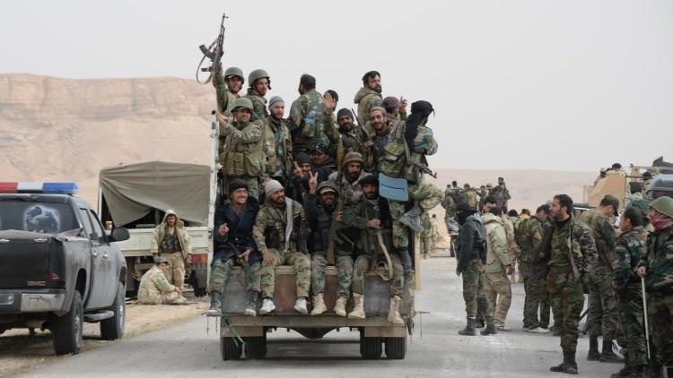 Efectivos del Ejército y milicias populares de Siria