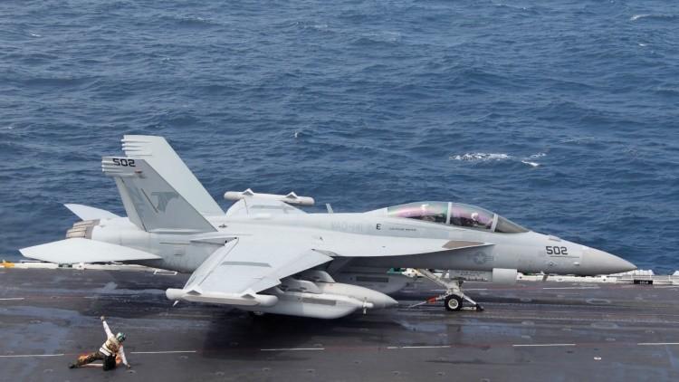 Un caza F/A-18 Super Hornet de la Armada de EE.UU.