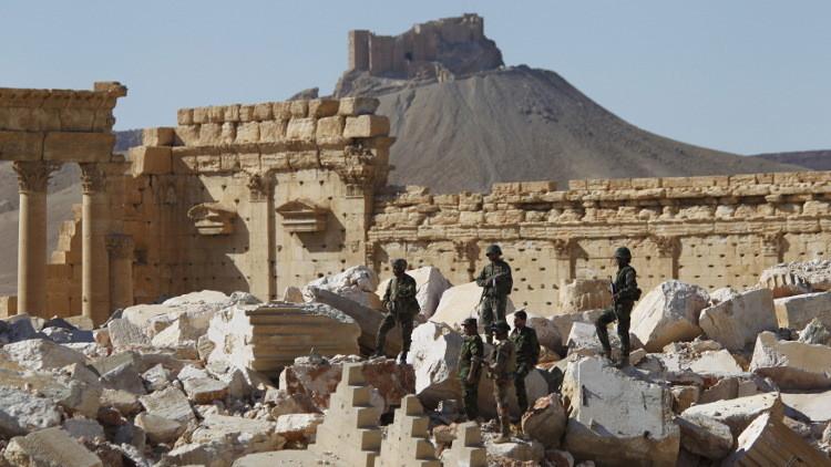 Soldados sirios en Palmira, el 1 de abril de 2016.