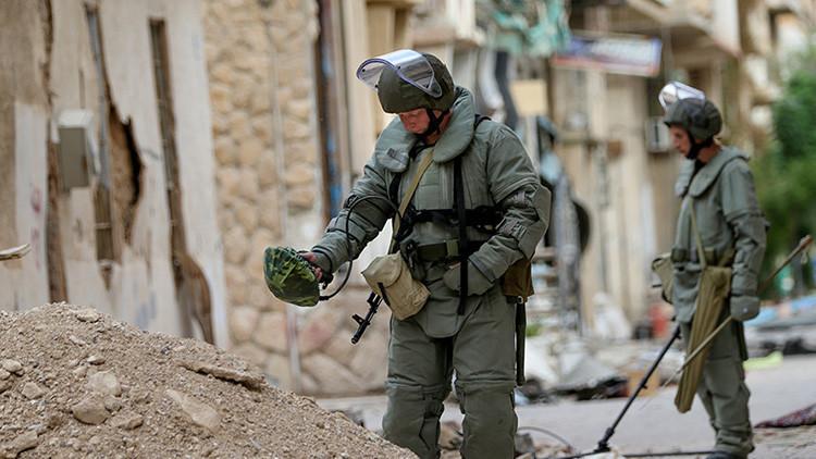 Publican fotos de la operación rusa de desminado en Palmira