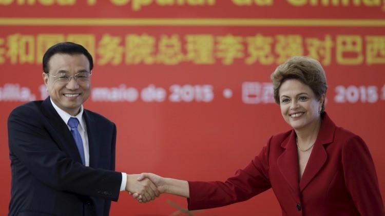 El primer ministro chino, Li Keqiang, durante una reunión con la presidenta Dilma Rousseff