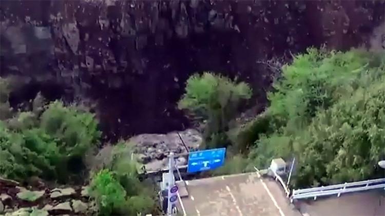 Video: Así quedó un puente tras colapsar por los terremotos en Japón