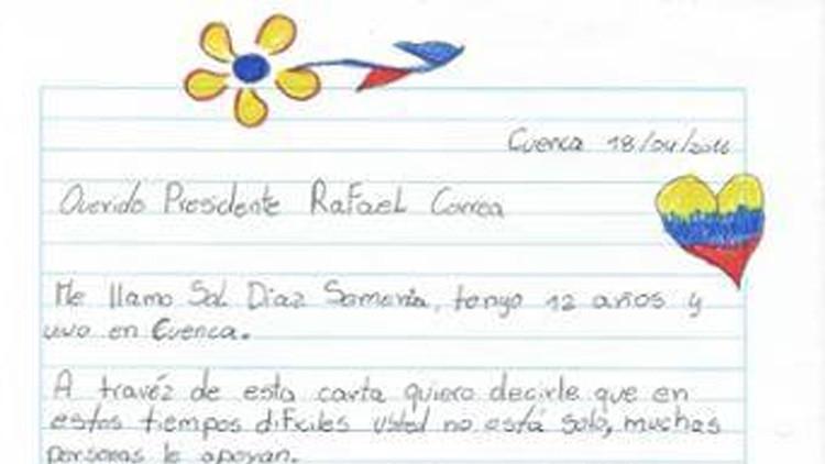 La conmovedora carta de una niña escrita tras el terremoto de Ecuador