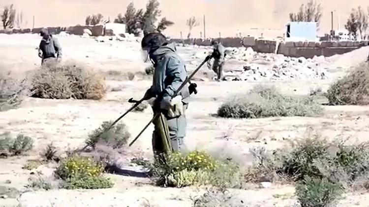 Zapadores rusos hallan un almacén con 12.000 explosivos del EI en Palmira