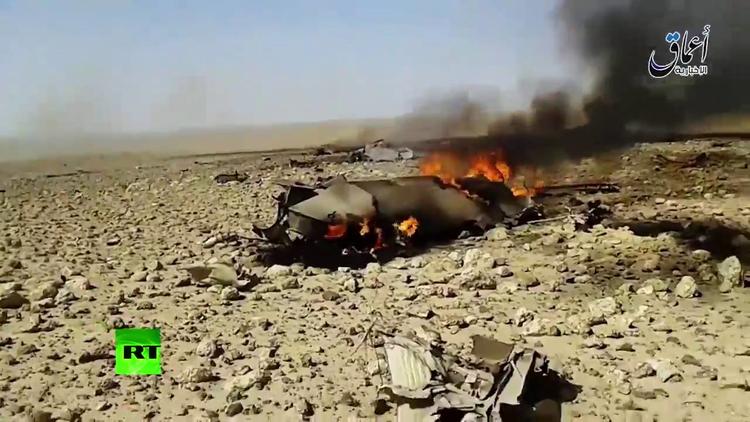 El Estado Islámico publica un video del caza estrellado en Siria