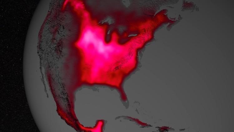 La fluorescencia de la Tierra en espectro rojo desde órbita