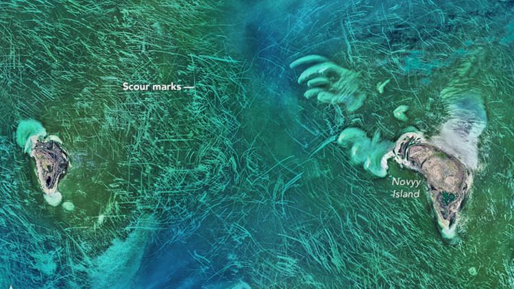 Imágenes satelitales muestran unas líneas misteriosas sobre el mar Caspio