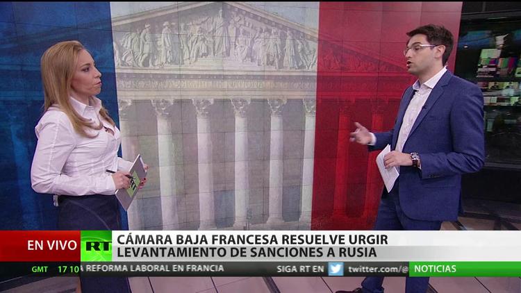 Cámara baja francesa resuelve urgir levantamiento de sanciones a Rusia