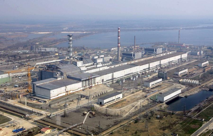 Vista aérea de la planta nuclear de Chernóbil