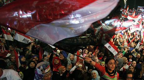 Partidarios del Ejército y de la Policía se reúnen en la plaza de Tahrir de El Cairo, el 25 de enero de 2014