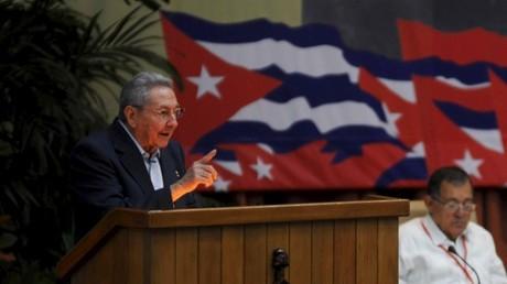 Raúl Castro durante un discurso en el VII Congreso del PCC