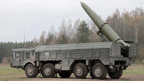 Un sistema Iskander durante unas maniobras militares