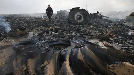 Un miembro del ministerio de Emergencias de Ucrania en el lugar donde cayó el Boeing 777 de Malaysian Airlines. 17 de Julio de 2014.