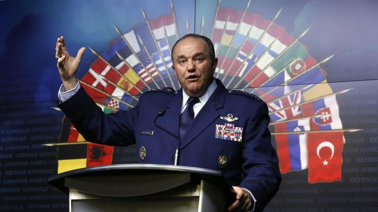 El comandante supremo de la OTAN, Philip Breedlov, durante su discurso en una conferencia en el Ministerio de Defensa de Canadá, en Ottawa. 6 de mayo de 2014.