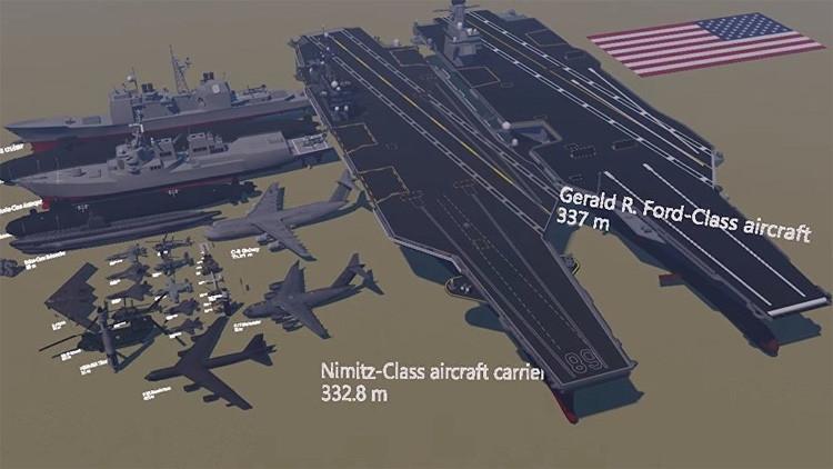 Desde una bala hasta portaviones: El arsenal militar de EE.UU., en un impresionante video