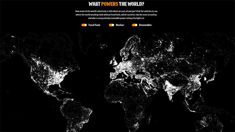 Mapa: Así se vería el mundo si se apagaran las fuentes de energía