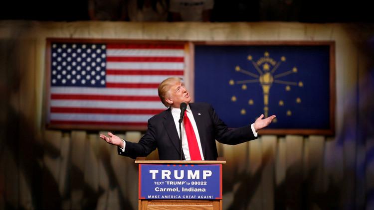 El precandidato a la presidencia de EE.UU. por el Partido Republicano, Donald Trump, durante la campaña electoral en Carmel, Indiana, EE.UU.