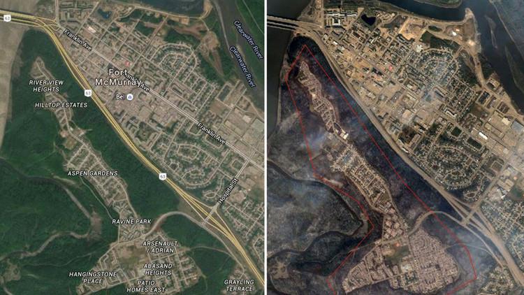 Desoladoras imágenes: El antes y después del devastador incendio que afecta a Canadá