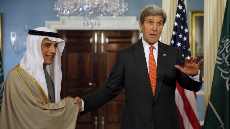 El canciller de Arabia Saudita, Adel Jubeir, con el secretario de Estado de EE.UU., John Kerry