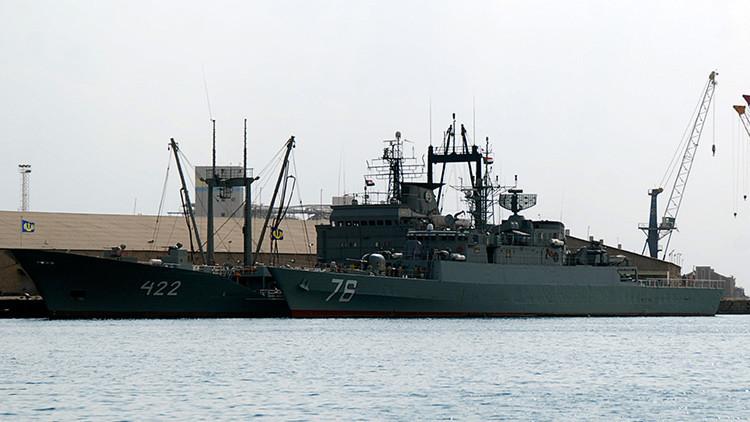 Dos buques de guerra iraníes atracados en el puerto de Sudán en diciembre de 2012