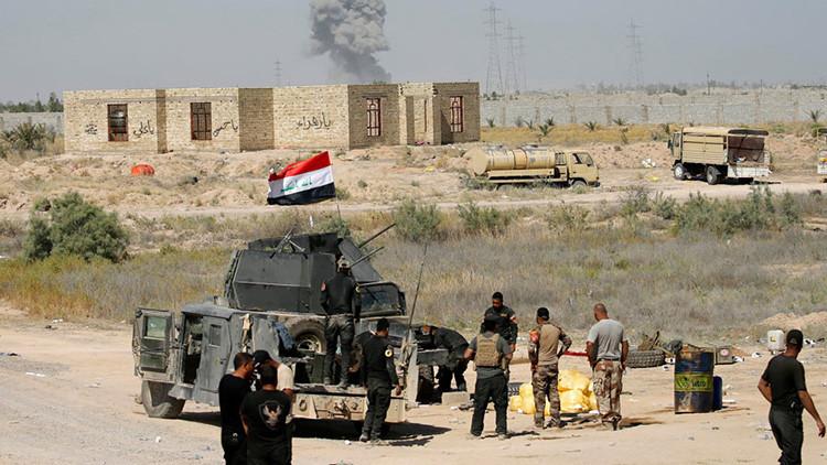 Fuerzas de seguridad iraquíes cerca de Faluya.