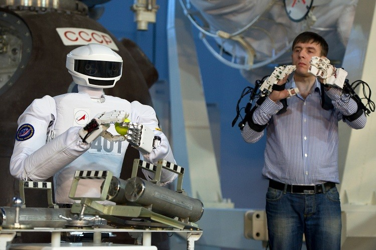 El robot antropomórfico durante una exposición en el Centro de Entrenamiento de Cosmonautas  en la región de Moscú