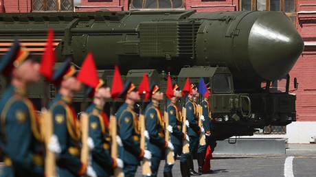 Una parte del complejo de misiles balísticos intercontinentales RS-24 Yars durante un desfile militar en la Plaza Roja, 2016