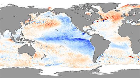 Anomalías de la temperatura de la superficie del mar mostrando condiciones de La Niña (azul) en noviembre de 2007